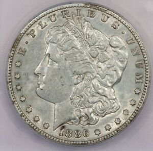 1886-S 1886 Morgan Silver Dollar S$1 ICG AU53 Details Cleaned