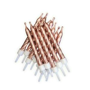 12 Metallic Rose Gold Cake Candles & Holders Birthday Topper Decoration