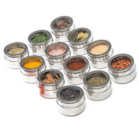 12pcs Magnetic Stainless Steel Spice Pot Herb Jar Storage Holder Cook Stand