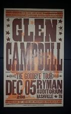 GLEN CAMPBELL Ryman HATCH SHOW PRINT Goodbye Tour Nashville 2011 Poster