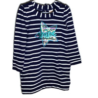 Gymboree Girls Dress Pullover Navy Blue White Striped Shine Star Pockets Size 6