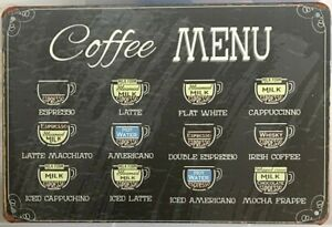 COFFEE Rustic Look Vintage Tin Metal Sign Man Cave, Shed-Garage & Bar Sign