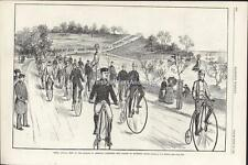 Restored Wood Engraving NYC American Wheelmen Parade Up Riverside Dr On Bicycles
