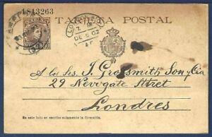 SPAIN Postal Card Tarjeta Postal Pamplona to London, England 1902