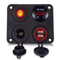 12V LED Voltmeter Dual USB Car Charger Rocker Switch Cigarette Lighter + Panel
