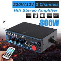 800W HIFI BT Stereo Audio Amplifier Music SD FM Radio Microphone Preamps BT