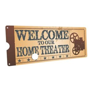 Home Theater Movie Projector Metal Sign; Decor for Home Theater or Family Room