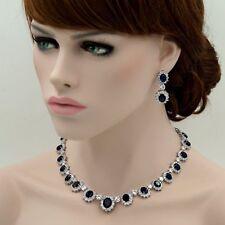 18K White Gold Sapphire Zirconia CZ Necklace Earrings Wedding Jewelry Set 08146