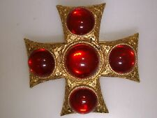 Lovely Vintage Antiqued Gold Tone W/Red Glass Cabochon Maltese Pin/Pendant!