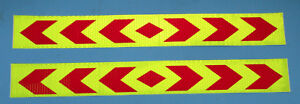 2 x REFLEKTOR Aufkleber selbstklebend NEONGELB / ROT 40 x 5 cm hell      #096
