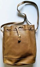 Rare Vintage Gucci Olive Green Leather Drawstring Bucket Bag 001-58-1465