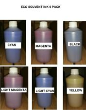 6 ECO SOLVENT INK REFILL FOR EPSON ROLAND MUTOH MIMAKI - C Y M K LC LM  6,000 ML