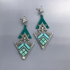 Silver Finish Triangle Shape Turquoise Stone Clear Rhinestone Design Earrings