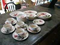 Stetson China 1955 Dinnerware Set- Maroon Floral