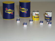 1/18 TSM SUNOCO OIL PACK OIL DRUM MOTOR OIL CANS 10PCS + MODIFIED GARAGE DIORAMA