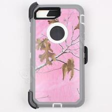 For iPhone 7 Plus Pink/Tree Camo Case Cover (Belt Clip Fits Otterbox Defender)