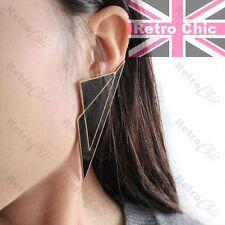"HUGE 3"" TRIANGLE black enamel GEOMETRIC EARRINGS modern big studs 8cm LARGE"