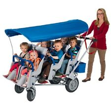 NEW Angeles Runabout 6 Passenger Daycare Commercial Bye Bye Stroller w/ Canopy