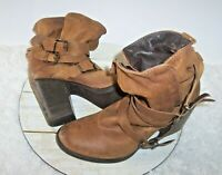 Steve Madden Brown Distressed Leather Ankle Boots 3 Strap Stacked Heel Sz 9