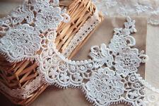 """Lace Trim Lace Fabric Retro Palace Flower Embroidery Eyelash White 6.29"""" 1 yard"""
