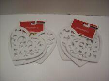 Lot Of 6 White Felt Heart Shaped Diecut Ornaments - New