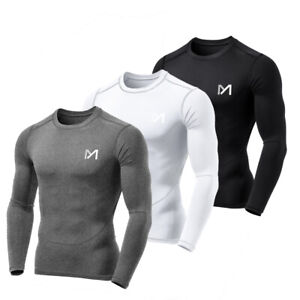 Herren Langarm T Shirt Kompression Funktionsshirt Sport Fitness Tops Laufshirt