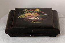 Large antique JAPAN painted, lacquered jewelry box with mirror