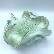 Vintage Mid Century Murano Art Glass Bullicante White Teal Gold Ashtray Dish