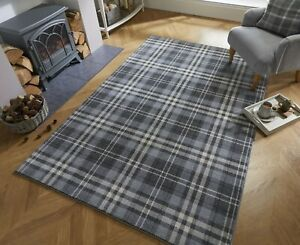 Loch Kilbirnie Silver Grey Tartan Hard Wearing Rug in various sizes and runner