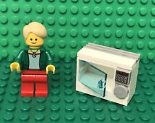 Lego Creator City Bank Teller Mini Figure With MOC Microwave / Oven Utensil Play