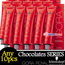 Any 10pcs Schwarzkopf  IGORA ROYAL Chocolates Permanent Colour Hair Dye 60ml