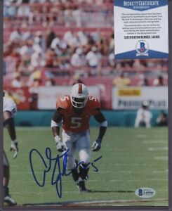 Z45990 Andre Johnson Miami Hurricanes Signed 8x10 Photo AUTO Beckett BAS COA