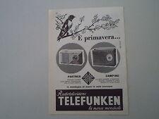 advertising Pubblicità 1960 TELEFUNKEN RADIO PARTNER/CAMPING