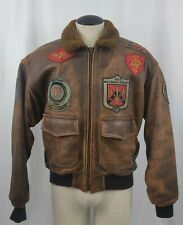 Vintage Type G-1 Patch Emblem Leather Bomber Jacket M Top Gun Military Style