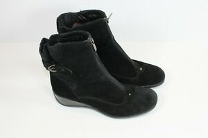 AQUATALIA black suede leather boots Size 8 US (UK 6) **scuffs LRRack