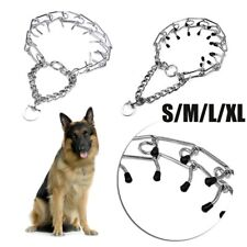 Adjustable Dog Training Collar Chain Pet Supply Metal Steel Prong Pinch Choke·