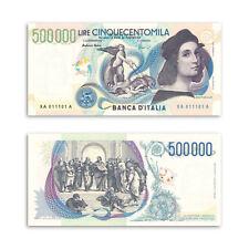 RIPRODUZIONE 500.000 LIRE RAFFAELLO FILIGRANA REPUBBLICA 500000 MONETA FDS UNC