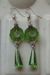 GREEN HIBISCUS FLOWER GLASS EARRINGS