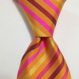HERMES Heavy 758610T Men's Silk Necktie FRANCE Luxury STRIPED Orange/Pink EUC