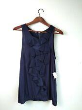 TwentyOne NWT Women's Blue Top Sleeveless Front Ruffle Design Elastic Hem Medium