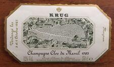 Une étiquette de champagne Krug Clos du Mesnil 1985 - 150 cl