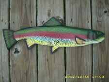 "21"" RainbowTrout Custom wood carving fish Mount Decoy"