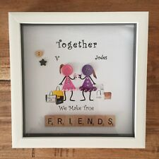 Personalised Box Frame Family Best Friends Button Heads Scrabble Christmas Gift.