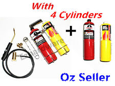 Oxygen Portable Oxy Kit Welding Cutting & Brazing Torch Gas Kit Plus 4 Cylinders