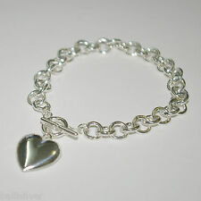 5 St Silver 8mm ROLO Chain HEART Charm Toggle BRACELETS