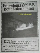 PUBLICITE ANCIENNE DE 1913 PHARES  PROJECTEURS AUTOMOBILE ZEISS FRENCH AD