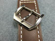 NEW IWC 16mm Swiss Stainless Tongue Buckle Tang Top Gun Pilot Leather Strap Band