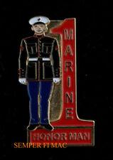 US MARINES #1 MARINE HONOR MAN RED MARINE HAT LAPEL VEST PIN GRADUATION GIFT WOW