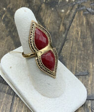 Barse Cleo Duo Ring-Raspberry Quartz & Bronze- 8-New With Tags