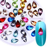 Colorful Crystal Gems Rhinestones Tear Drop Flatback 3D Nail Art Decoration Tips